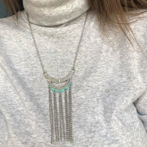 Boho style silver and teal necklace